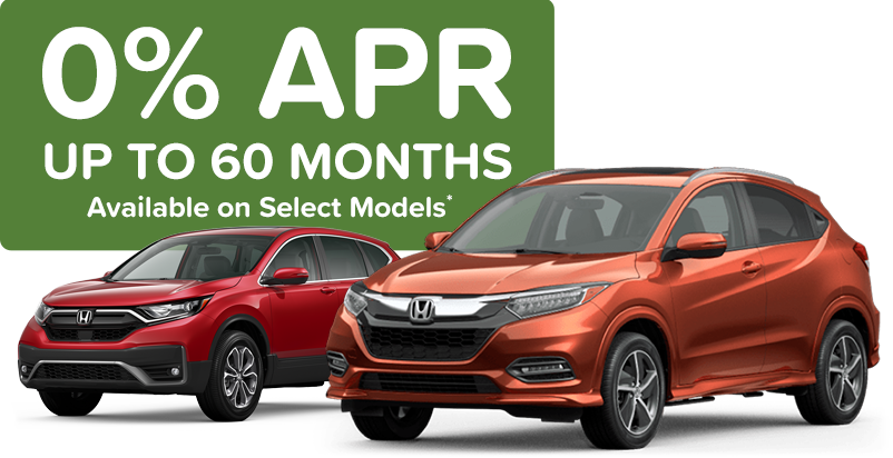 0% APR up to 60 months on new 2020 and 2021 HR-V, 2020 CR-V, 2020 Ridgeline, 2021 Pilot models
